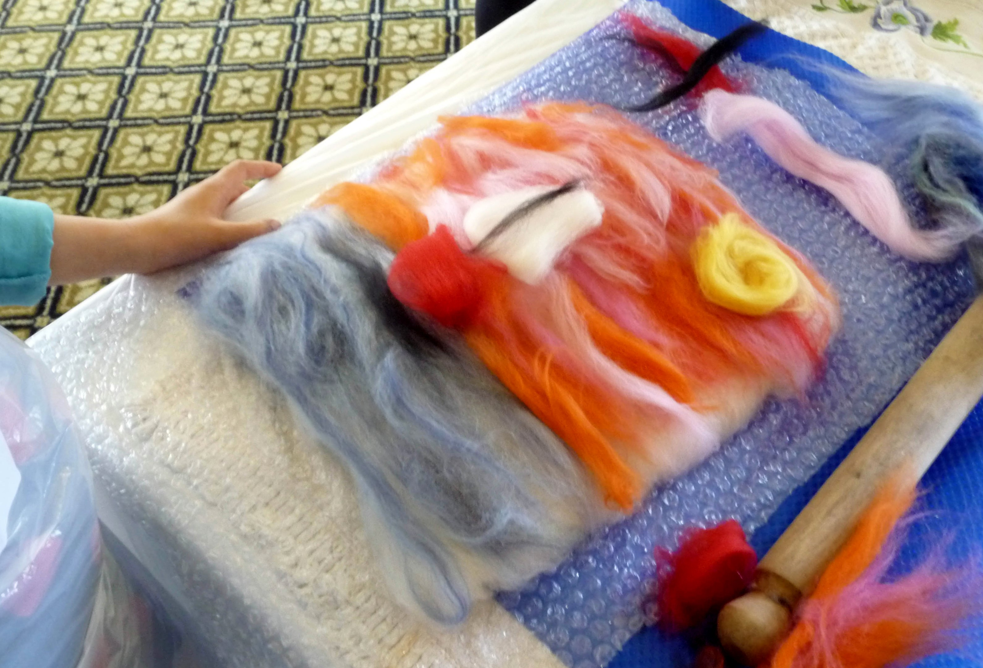 this is a merino wool picture ready to be made into felt by YE at NW Regional Day 2014