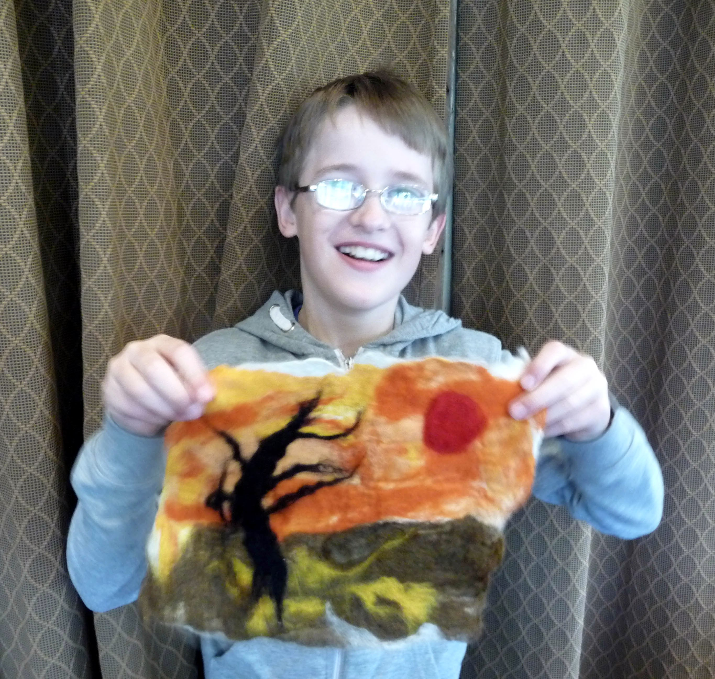 this is Fionn with his felt picture made at NW Regional Day 2014
