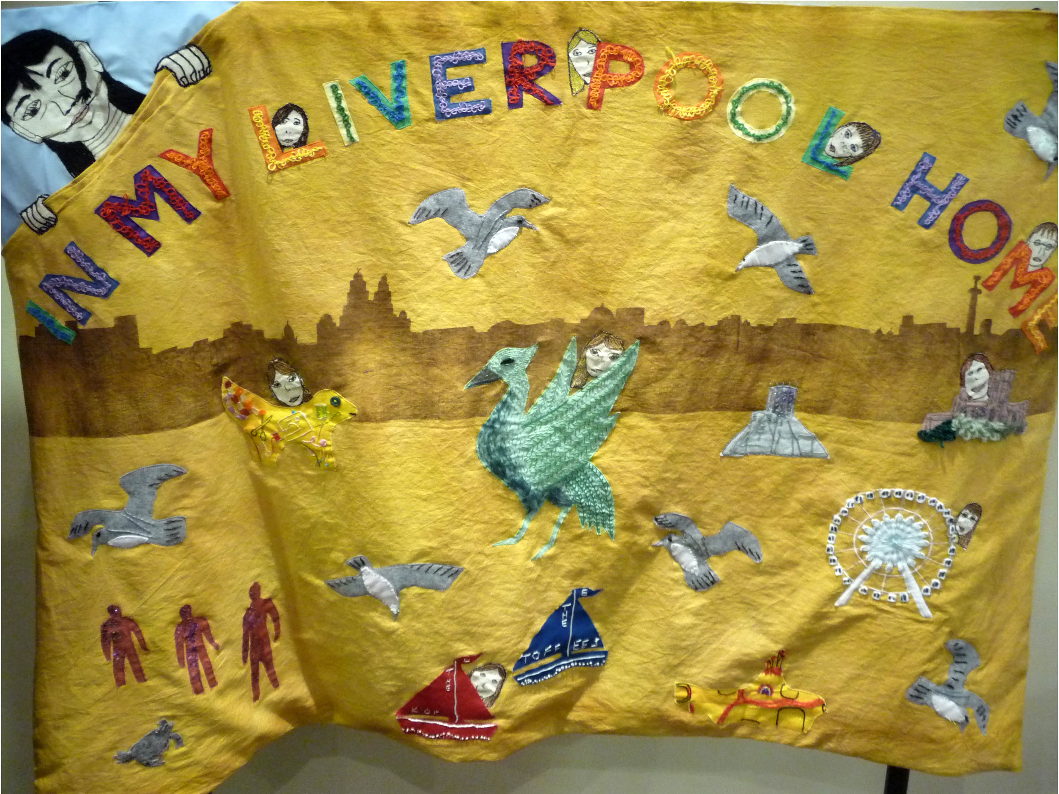 IN MY LIVERPOOL HOME, an embroidered panel made by Merseyside YE 2014