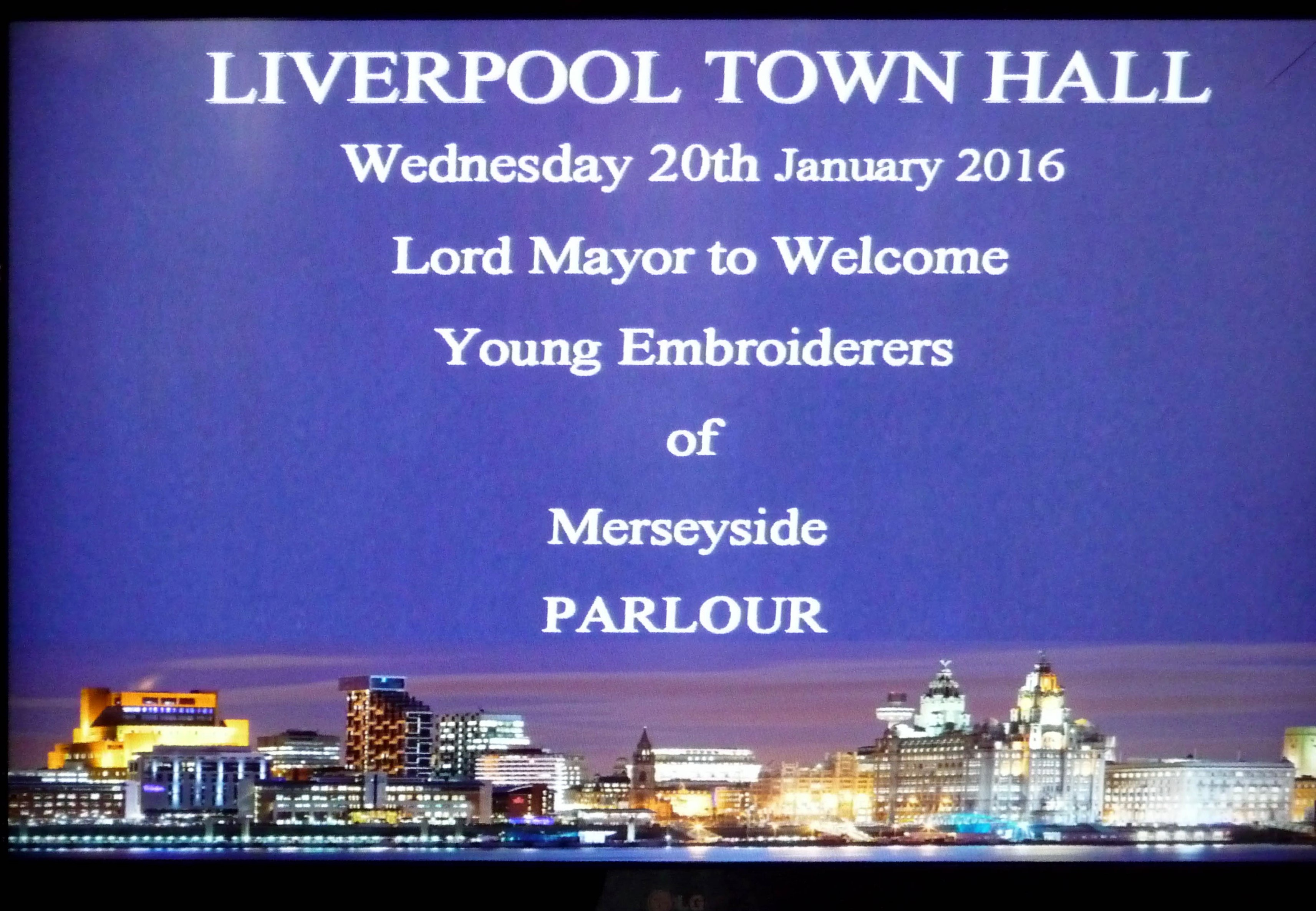 Merseyside YE had thier names on the TV screen when they went to meet the Lord Mayor of Liverpool, January 2016