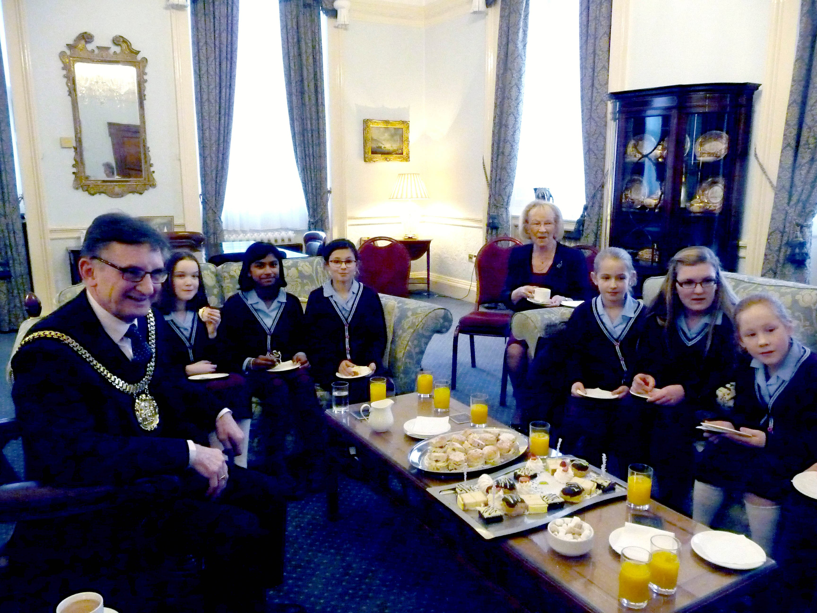 Merseyside YE in the Mayor's Parlour. They were invited to tea with Liverpool Lord Mayor, January 2016