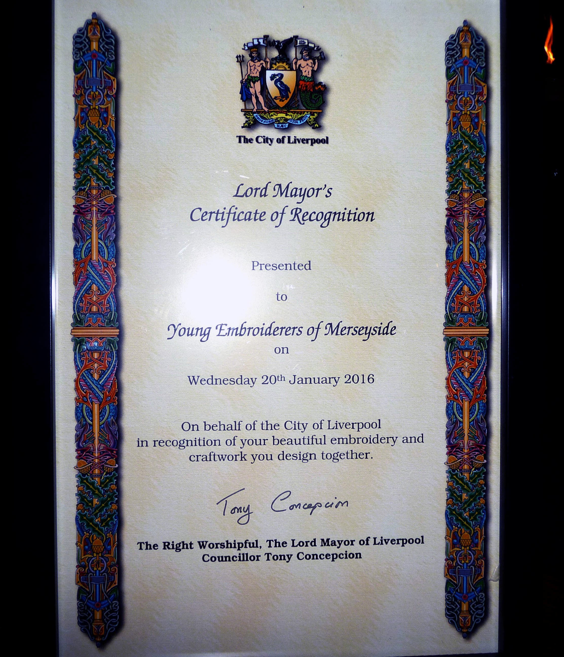 the Lord Mayor of Liverpool, Tony Conception, presented Merseyside YE with a commemmorative certificate to celebrate their achievement in winning the deDenne embroidery competition 2015