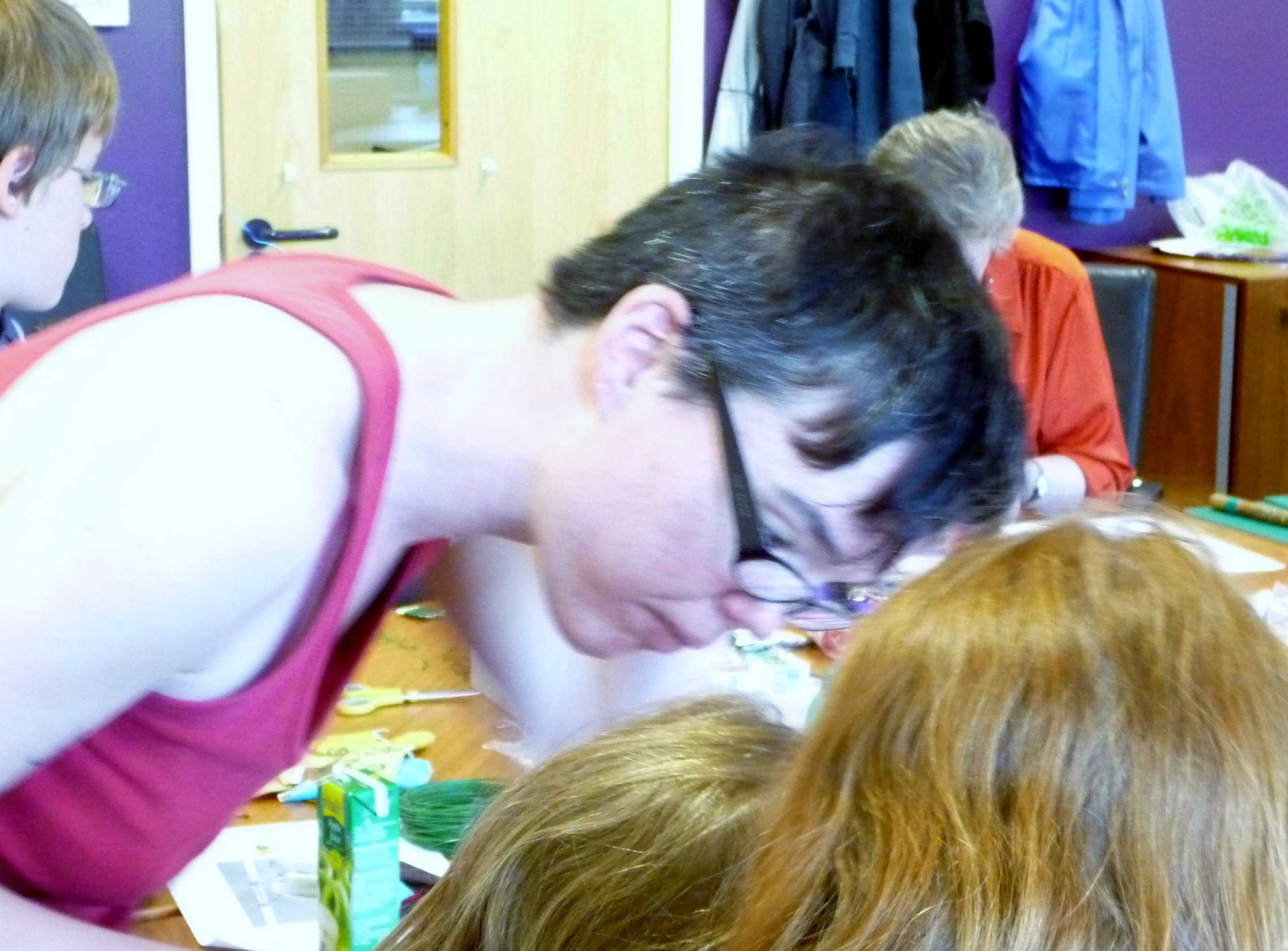 our guest Tutor Clare McCormack helping some of our students at YE workshop 2014