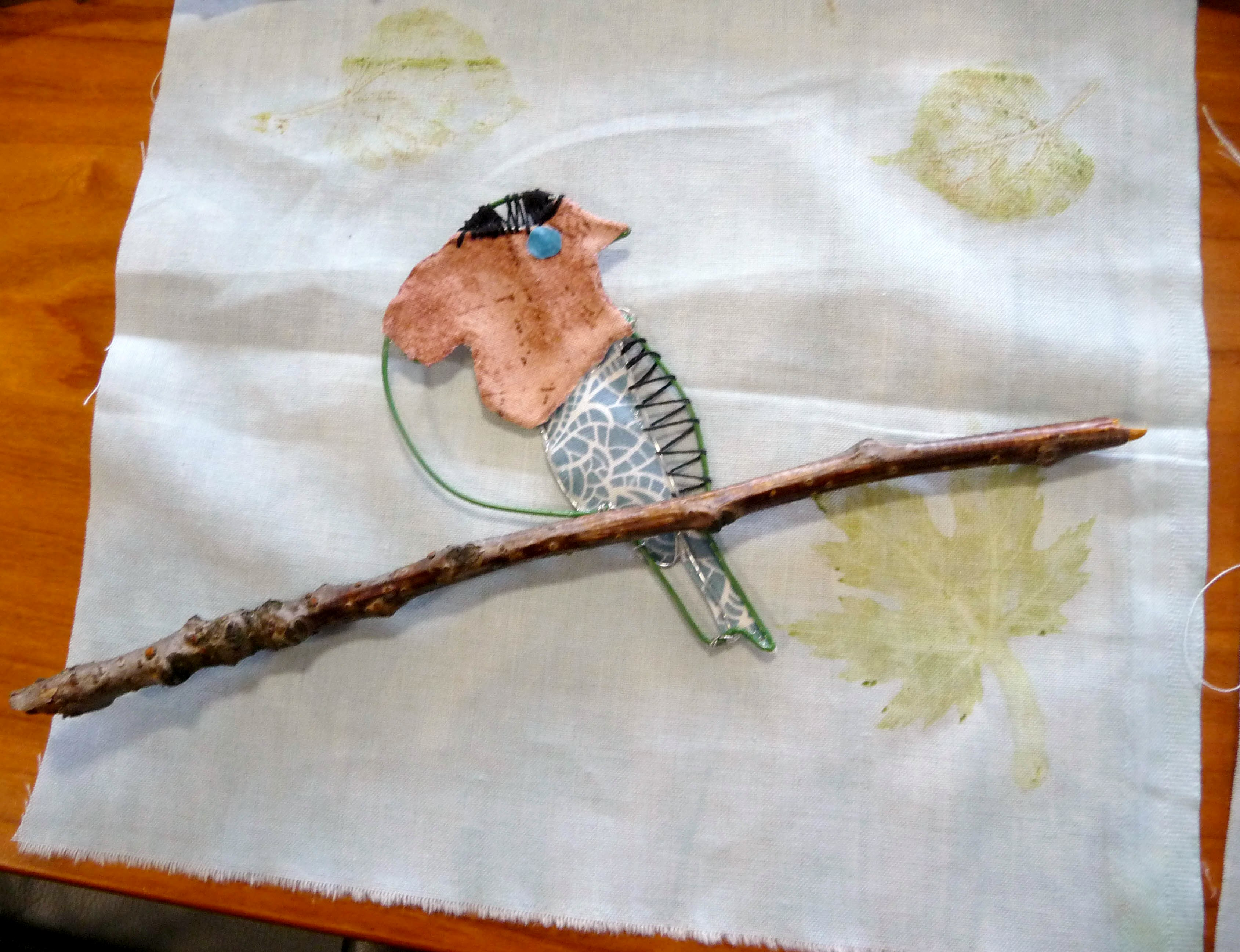we made wire birds with a printed background at YE workshop June 2014