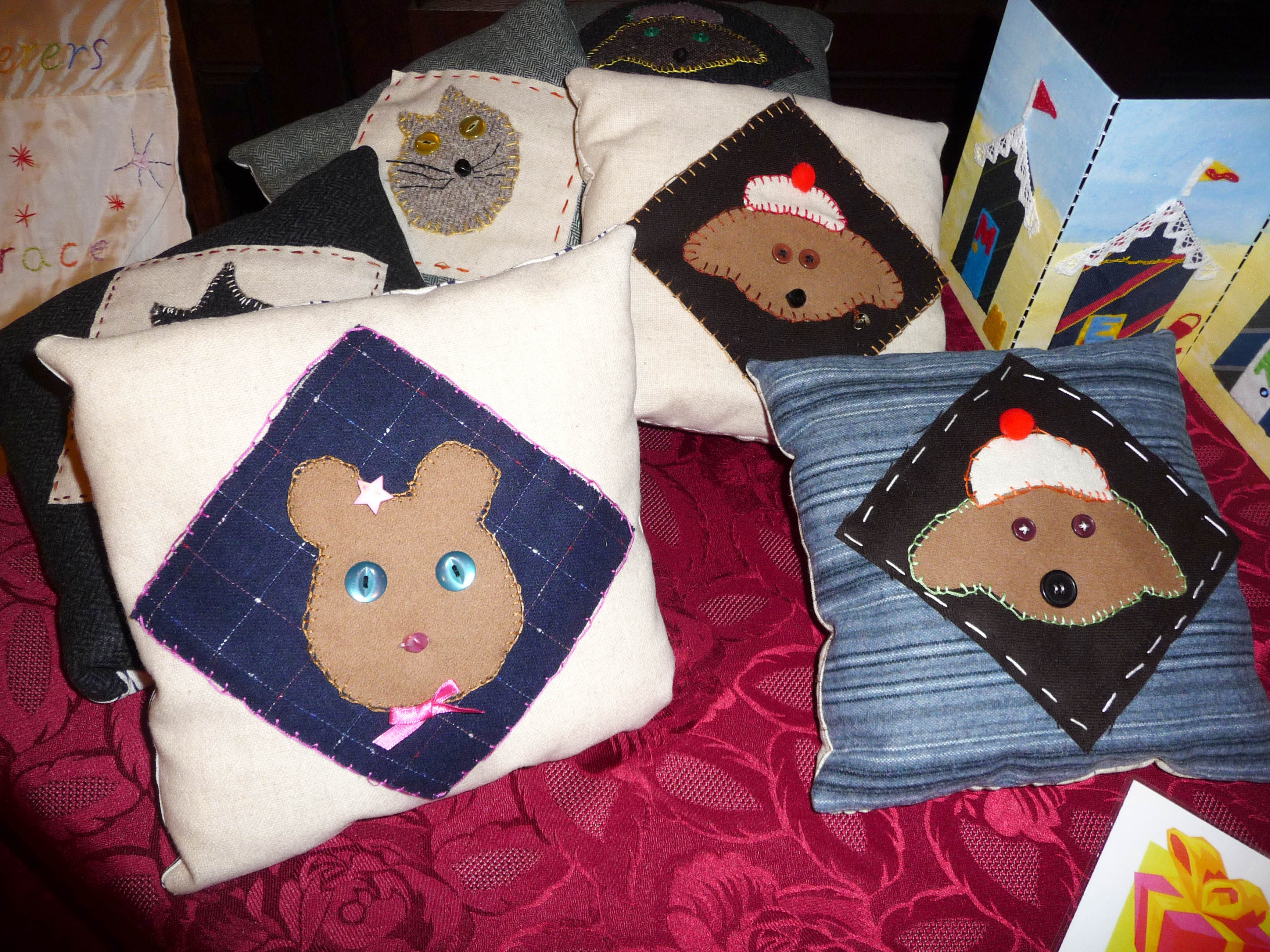 applique cushions made by Merseyside Young Embroiderers