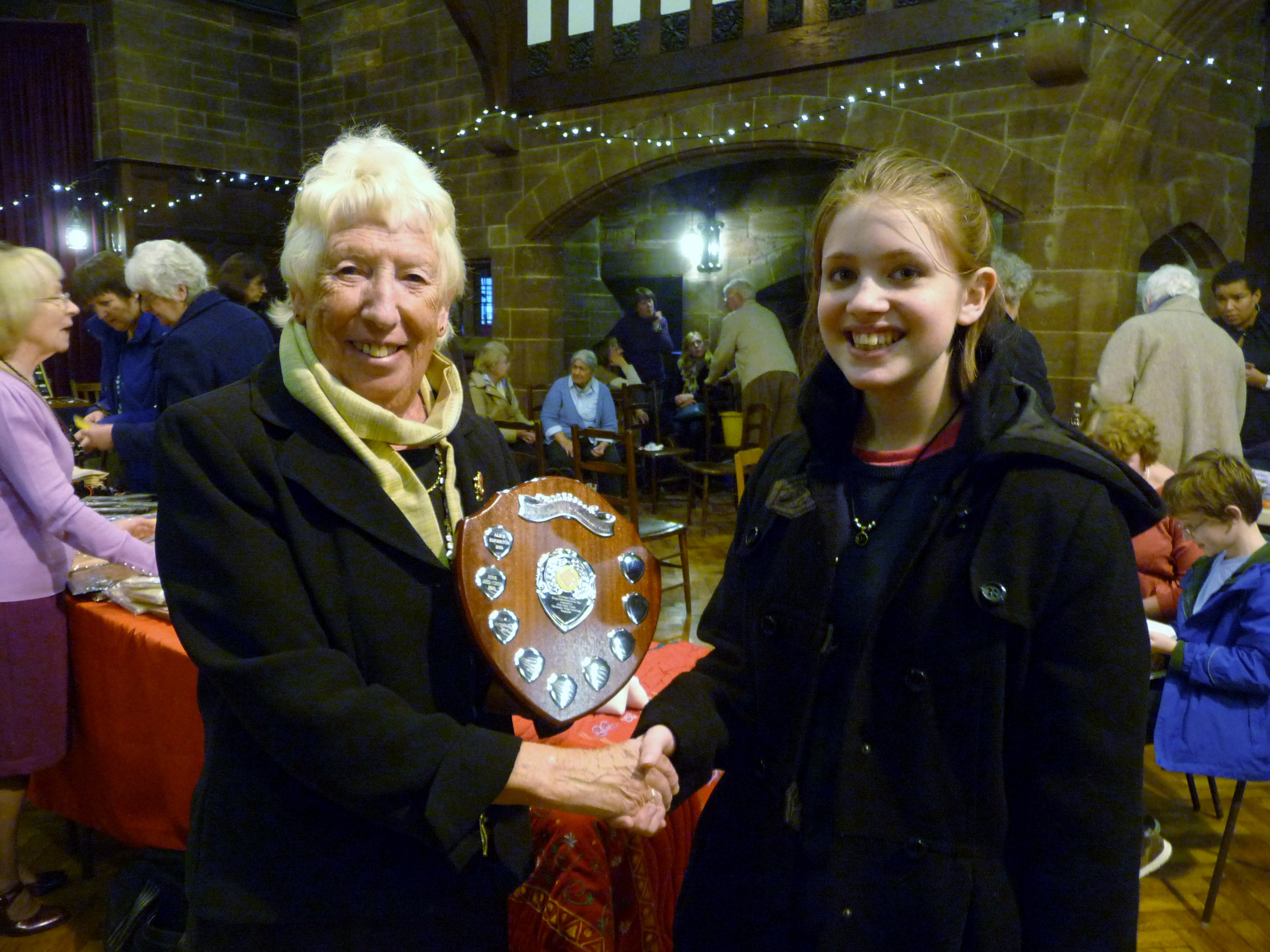Maisie is receiving the Sreepur Shield for Merseyside Young Embroiderer of the Year 2013