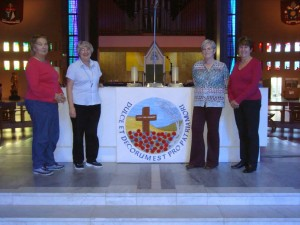Altar frontal in Liverpool Metropolitan Cathedral with some of the people who embroidered. Oct 2014