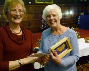 Jean Mather receiving her prize as winner of the Traditional Embroidery Competition 2013
