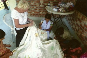 Raffle quilt being made in Sreepur