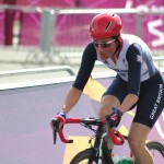 Dame Sarah Storey racing in 2012 Paralympic Games where she won a Gold Medal