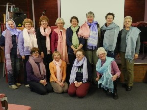 Sreepur scarves decorated by members of Isle of Mann Branch of Embroiderers' Guild