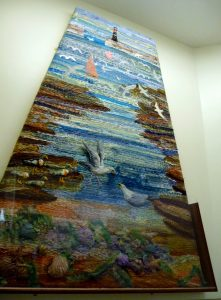 """The Estuary"", the lower panel of the WATERFALL PROJECT in Liverpool Women's Hospital"