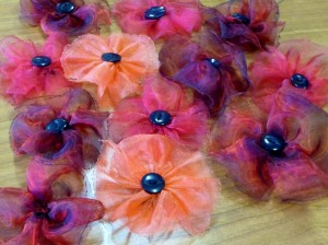 "MEG Y.E. Group made chiffon ""poppies for remembrance"" to be displayed in Floral Pavillion, New Brighton"