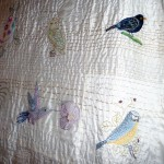 Sreepur quilt with embroidered birds which will be raffled to raise funds for Sreepur Orphanage and Womens Refuge, Bangladesh