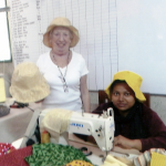 Ruby Porter MBE and Paural with the sunhats, made for a UK order in Sreepur, Bangladesh