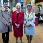 Ruby Porter MBE with Liverpool Lord Mayor Erica Kemp, and the Lord Mayor's daughter The Lady Mayoress in St Barnabus Church, Liverpool, 2014