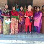 Ruby Porter MBE had a meeting with the mothers who embroider in Sreepur, Bangladesh 2014. They are happy with their work.