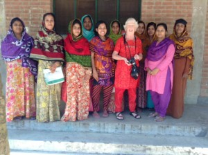 Ruby Porter MBE had a meeting with the village mothers who embroider in Sreepur, Bangladesh. They are all enjoying their work
