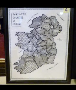 MAP OF IRELAND by Hilary McCormack, winning entry to Traditional Embroidery Competition 2016, blackwork