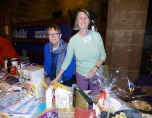 Marie and Helen with the Raffle stall at MEG Winter Fair 2016