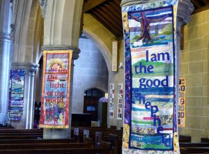banners designed and made by Norma Heron with assistnce from the ladies of St Barnabus Church, Penny Lane