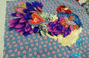 tudent's work at Raw Edge Applique workshop with Lizzie Wall