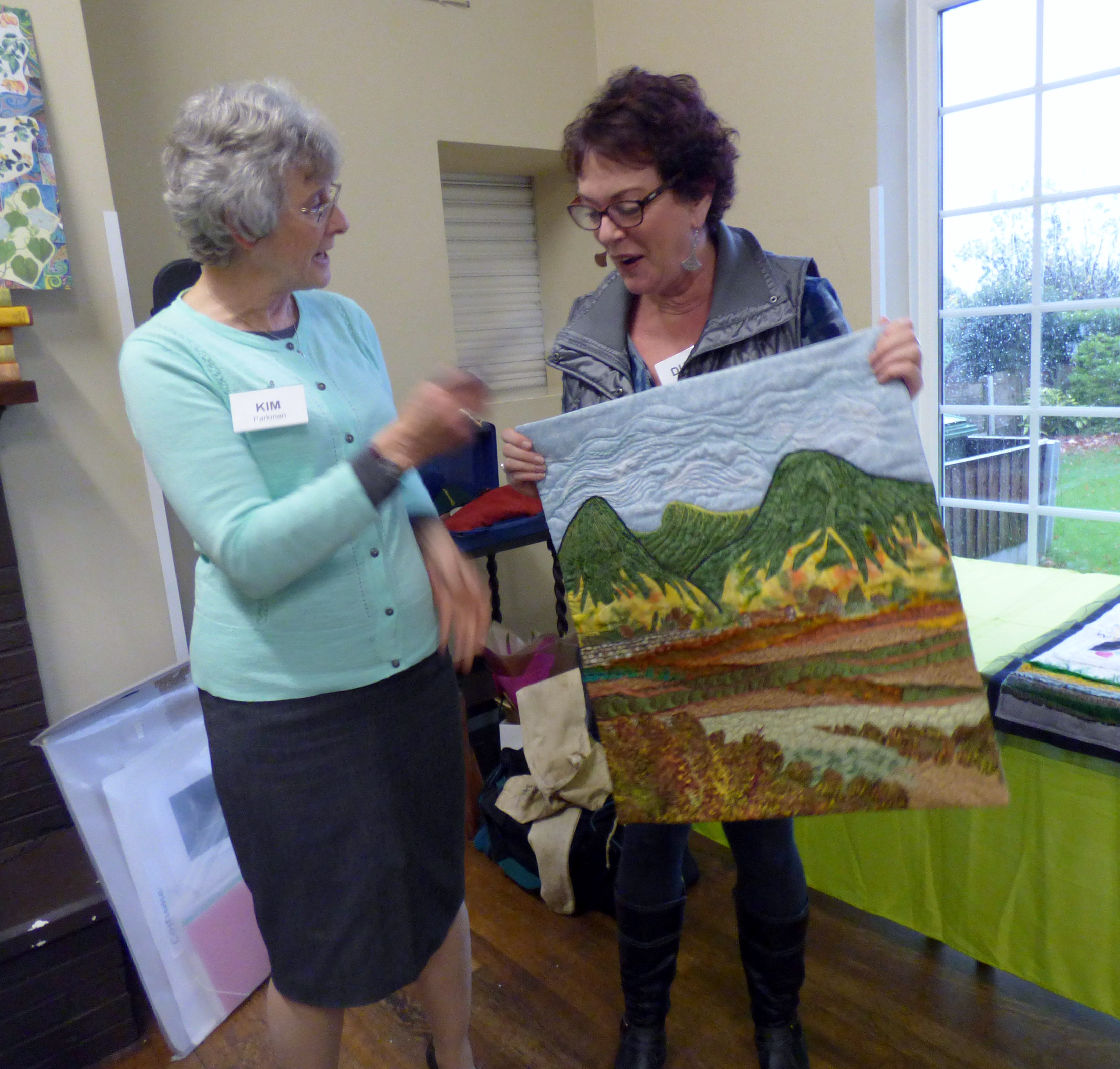 """Diane Moore, First Prize Winner of 2017 Chair's Challenge competition, theme """"Memory Wall"""" with her winning embroidery"""