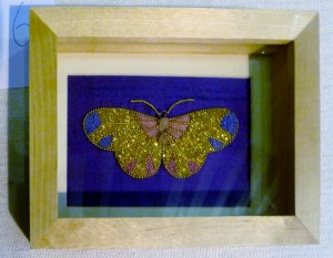 BUTTERFLY by Jean Mather, winner of Traditional Embroidery competition at 2013 Christmas Party