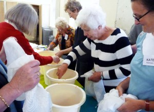 Workshops & Talks- lots of activity as the dyeing session gets underway