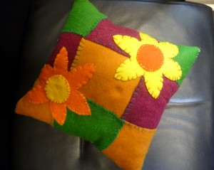first completed applique cushion at YE group 2015