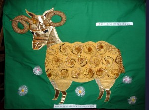 this is 'The Golden Fleece', winner of the deDenne national competition for Young Embroiderers 2015. Merseyside YE won First Prize for the Group entry