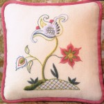 Jacobean design cushion