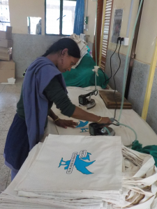 the first MEG bags being made in Sreepur, December 2015
