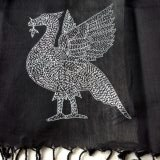 Hand embroidered liverbird on a Liverpool scarf sold to aid Sreepur funds