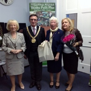 Rubina Porter MBE and Kathy Green with the Lord Mayor of Liverpool and Lady Mayoress at Calderstones Mansion, Sept 2015