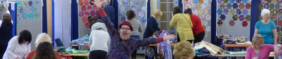 Brandon is trying to keep a low profile at Kaffe Fassett workshop, All Hallows, Dec 2016