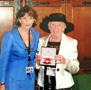Dr Sheila Fitzpatrick MBE & Rubina Porter MBE at Buckingham Palace, June 2016