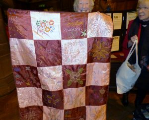 Ruby Porter MBE with her latest Sreepur quilt at MEG Winter Fair 2016