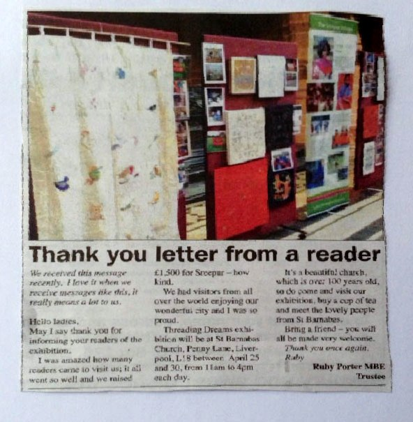 letter re.Rubina Porter MBE in Link , April 2016