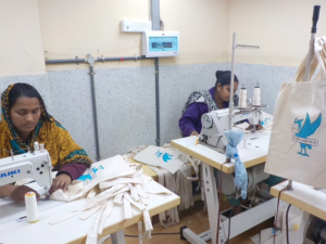 the first MEG bags being produced in Sreepur