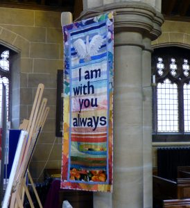 banner designed and made by Norma Heron with assistnce from the ladies of St Barnabus Church, Penny Lane
