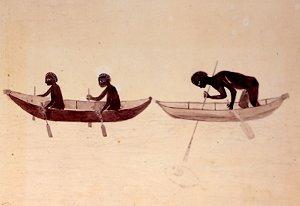 Australian Aborigines in bark canoes, Botony Bay, 1770