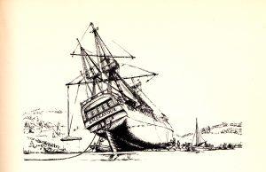 The H.M.S. Endeavor beached for repairs after striking the Great Barrier Reef during the first Pacific voyage of James Cook in 1770.