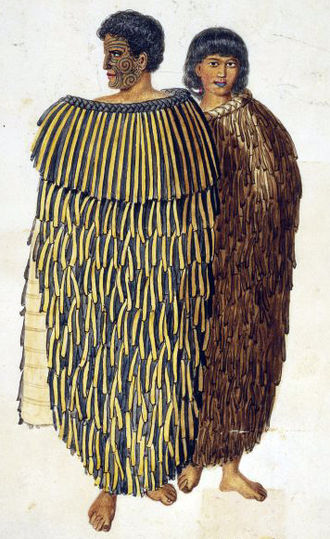An 1847 portrait of Hone Heke and his wife Hariata wearing cloaks made from Phormium tenax fibre