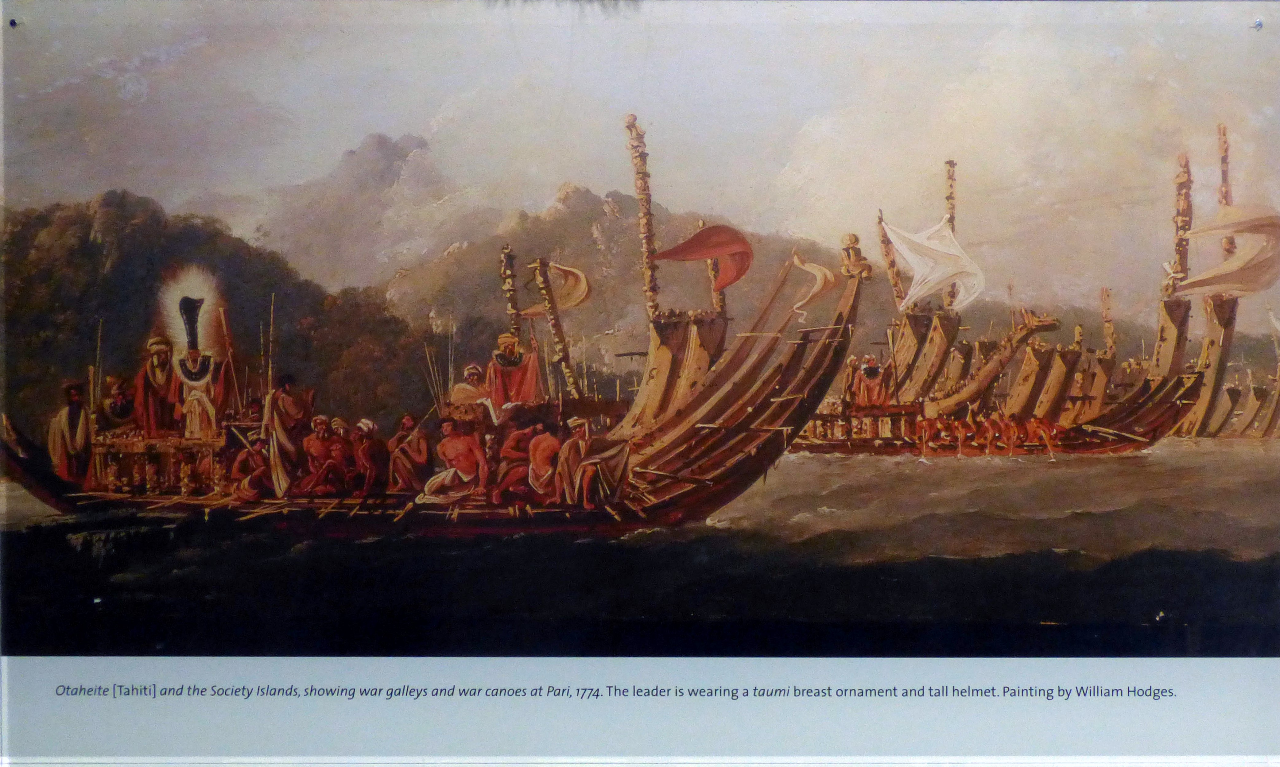 Painting by William Hodges depicting Tahiti and war canoes 1774, The leader is wearing a breast ornament and helmet, MEG behind the scenes tour at Liverpool World Museum, 2018
