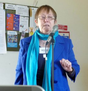 """Marie Stacey speaking about """"Stitching Wider Horizons - embroidery with sight problems"""""""