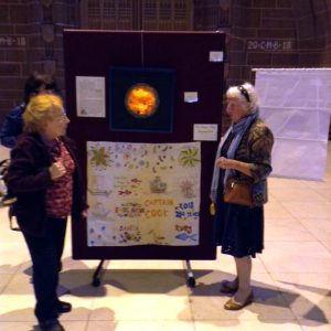 Rubina Porter MBE with Gill and the Sreepur ENDEAVOUR quilt