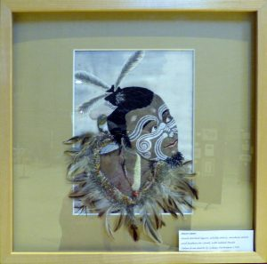 MAORI MAN by Mal Ralston, hand stitch and mixed media, Endeavour exhibition, Liverpool Cathedral, Sept 2018
