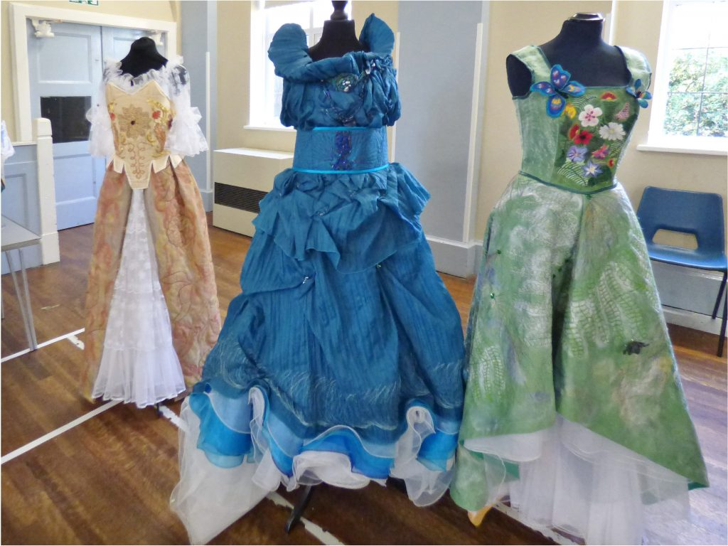 """embroidered dresses by Gill Roberts, """"My Stitching Journey"""" Talk, Oct 2018"""