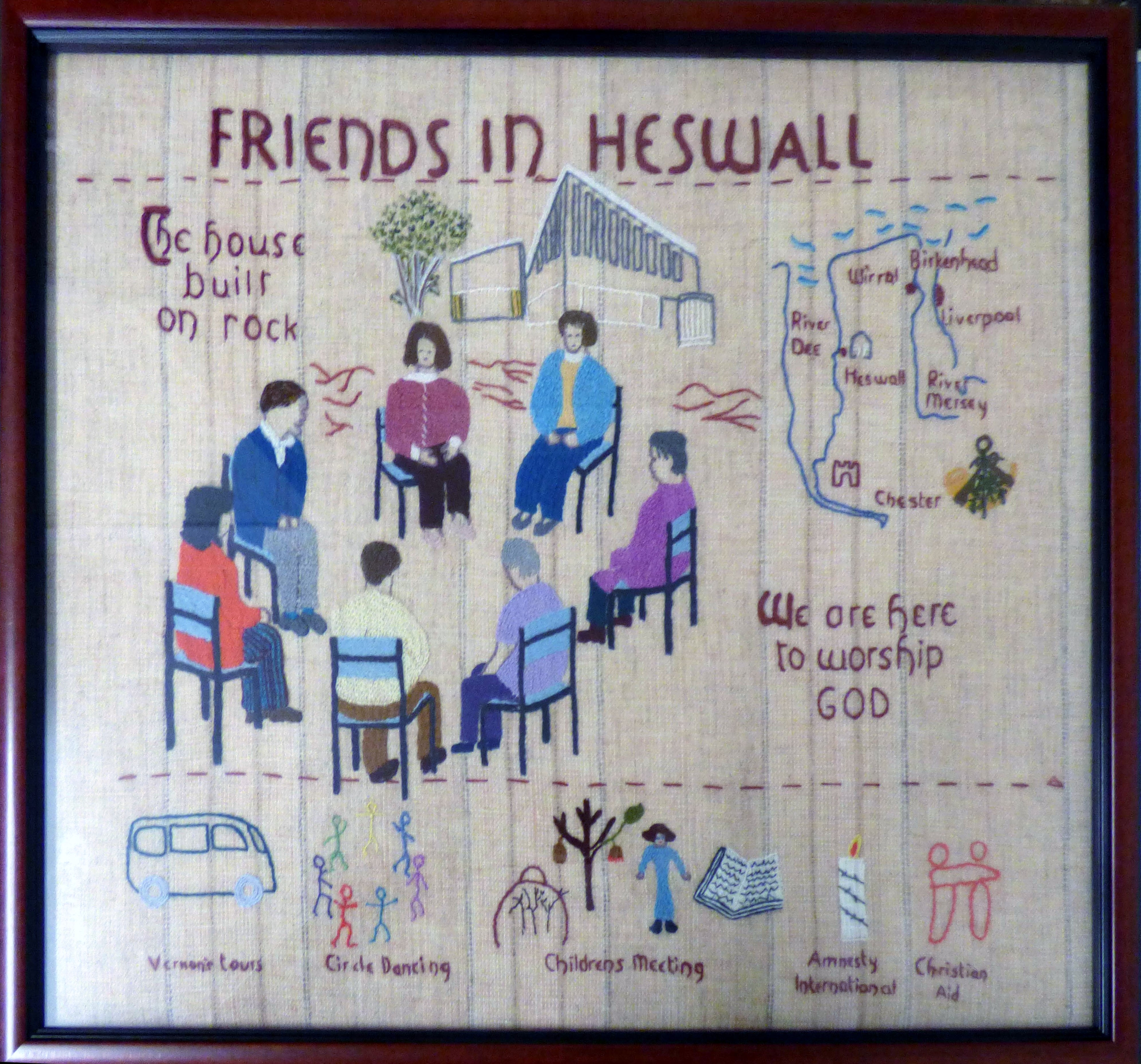 panel from the Quaker Tapestry made by a group in Heswall